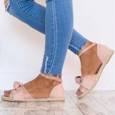 Ankle Strap Flats Lace Up Shoes Suede Espadrilles Sandals_1