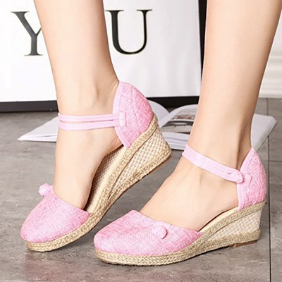 Espadrilles Button Daily Cloth Wedge Sandals_9