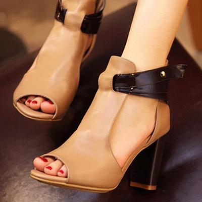 Hollow-out Peep Toe Zipper Summer Chunky Sandals_8