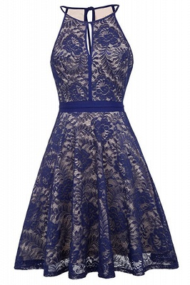 Women's Halter Floral Lace Cocktail Party Dress Homecoming Dress_6