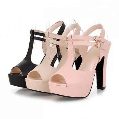 Platform Buckle Date Peep Toe Women Summer Sandals_10