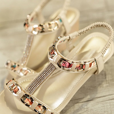 Rhinestone Date Chain Hollow-out Women Summer Wedge Sandals_6