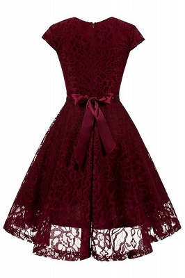 Women's Vintage 1950s Short Sleeve A-Line Cocktail Party Swing Dress with Floral Lace_9