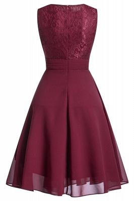 Women's Vintage Sleeveless Ruffles Belt Floral Lace Bridesmaid Chiffon Dress_2
