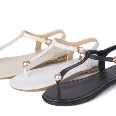 Flip-flops Imitation Pearl Daily Summer Buckle Sandals_9