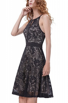 Women's Halter Floral Lace Cocktail Party Dress Homecoming Dress_13