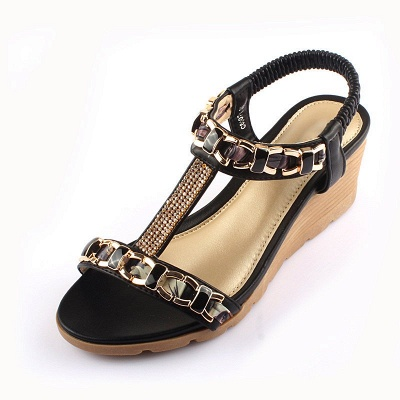 Rhinestone Date Chain Hollow-out Women Summer Wedge Sandals_10