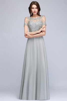 A-Line Appliques Scoop Beaded Silver Cheap Cold-Shoulder Bridesmaid Dresses_4