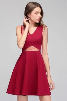 Cheap A-line Sleeveless Short V-neck Tulle Neckline Homecoming Dress in Stock_4
