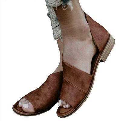 Peep Toe PU Daily Summer Chunky Sandals_5