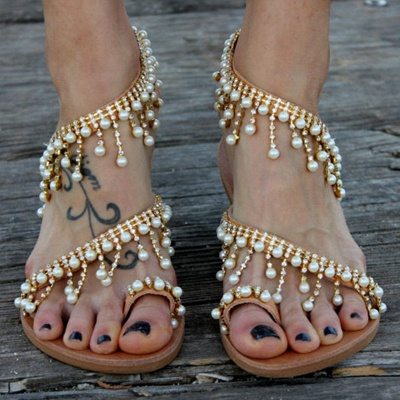 Women Leather Sandals Casual Pearls Shoes_6