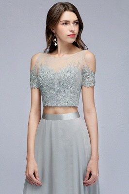 Appliques Two-Pieces Silver Exquisite A-Line Chiffon Bridesmaid Dresses_3