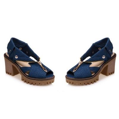 Denim Peep Toe Platform Women Chunky Sandals_2