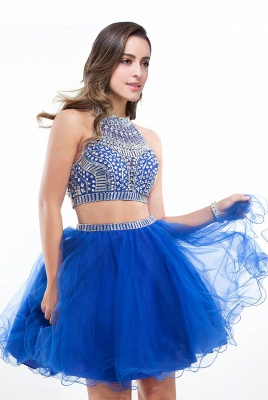 Two-piece Halter Sleeveless Short Tulle Cheap Prom Dresses with Crystal Beads_2
