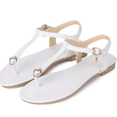 Flip-flops Imitation Pearl Daily Summer Buckle Sandals_1