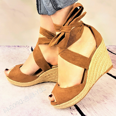 Espadrilles Bowknot Peep Toe Summer Wedge Sandals_9