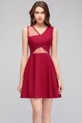 Cheap A-line Sleeveless Short V-neck Tulle Neckline Homecoming Dress in Stock_5
