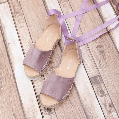 Lace-up Casual Flocking Platform Sandals_15