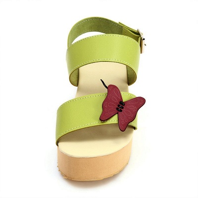 Butterfly Daily Buckle Peep Toe Platform Wedge Sandals_3