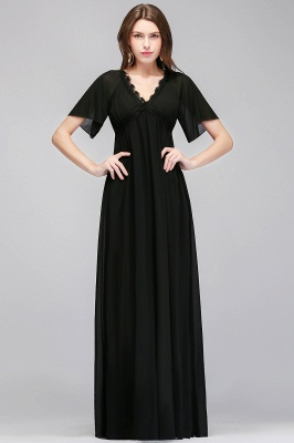 Black A-Line Chiffon V-Neck Cheap Bridesmaid Dresses_1