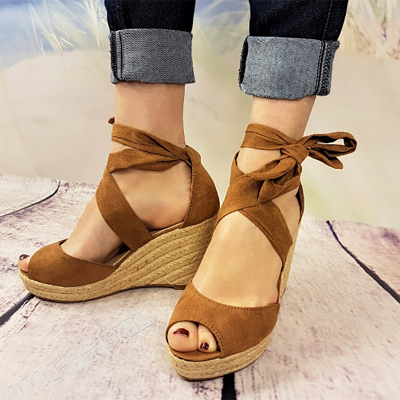 Espadrilles Bowknot Peep Toe Summer Wedge Sandals_10