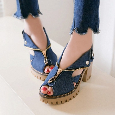 Denim Peep Toe Platform Women Chunky Sandals_9