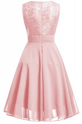Women's Vintage Sleeveless Ruffles Belt Floral Lace Bridesmaid Chiffon Dress_3