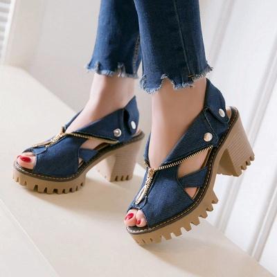 Denim Peep Toe Platform Women Chunky Sandals_5
