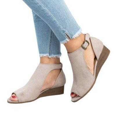 New Adjustable Buckle Casual Wedges Summer Sandals_10