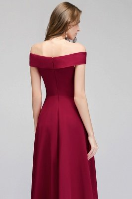 A-line Off-the-Shoulder Long Burgundy Evening Gowns_8