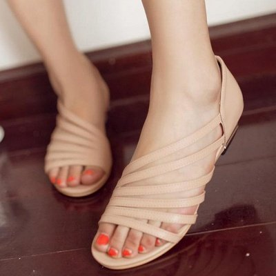 Hollow-out Daily Summer Peep Toe Wedge Sandals_10