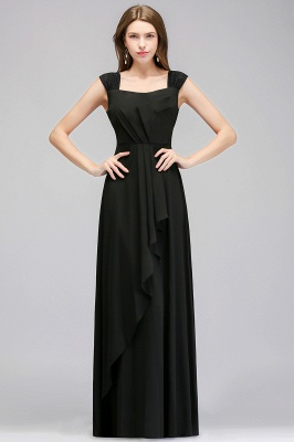 Black Cheap Long Ruffles Sleeveless Straps Evening Dress_2