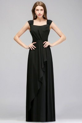 Black Cheap Long Ruffles Sleeveless Straps Evening Dress_1