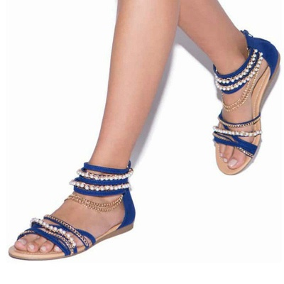 Chain Open Toe Imitation Pearl Daily Summer Sandals_2