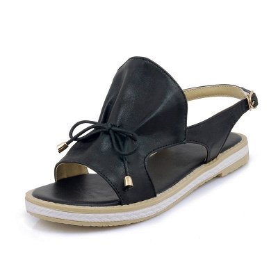 Peep Toe Bowknot Comfortable Summer Hollow-out Casual Sandals_3