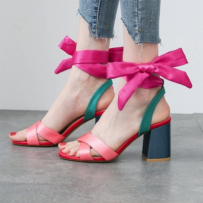 Fuchsia Bowknot Daily Chunky Sandals_1
