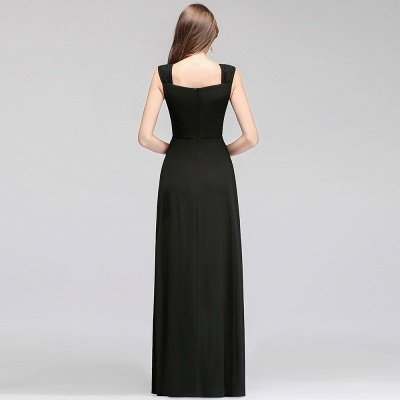 Black Cheap Long Ruffles Sleeveless Straps Evening Dress_3