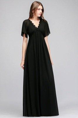 A-line  V-Neck Short-Sleeves Floor-Length Bridesmaid Dresses_3