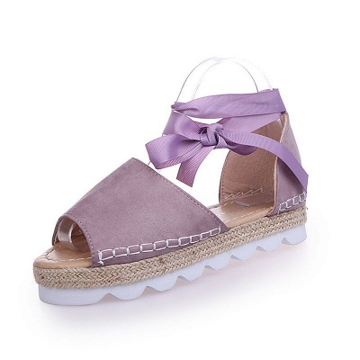 Lace-up Casual Flocking Platform Sandals_4