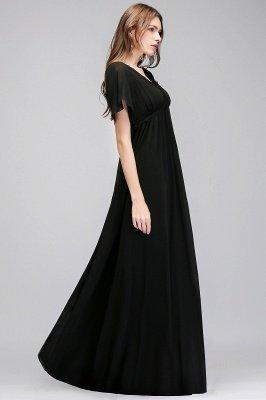 A-line V-neck Short Sleeves Long Black Chiffon Bridesmaid Dress_4