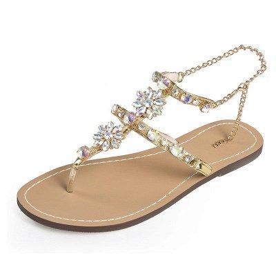 Beach Chain Daily Rhinestone Flip-flops Sandals_3