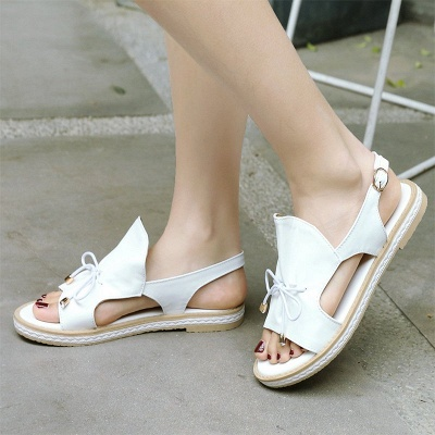 Peep Toe Bowknot Comfortable Summer Hollow-out Casual Sandals_12