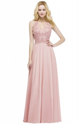 Cheap A-line V-neck Sleeveless Long Appliques Chiffon Bridesmaid Dress in Stock_1