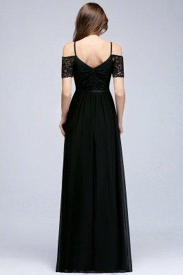 A-line  Lace V-Neck Off-the-shoulder Sleeveless Floor-Length Bridesmaid Dresses_2