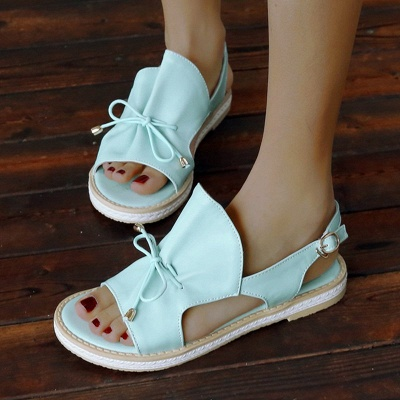 Peep Toe Bowknot Comfortable Summer Hollow-out Casual Sandals_13