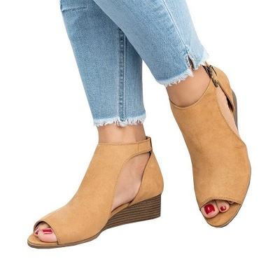New Adjustable Buckle Casual Wedges Summer Sandals_1