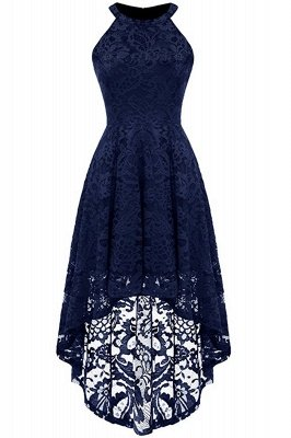 Lace Dress Female Robe Casual 1950s Rockabilly High Low Sleeveless Swing Summer Dresses_3