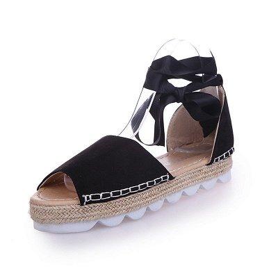 Lace-up Casual Flocking Platform Sandals_5