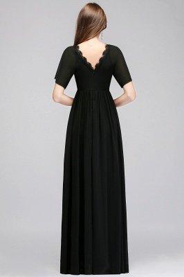 A-line V-neck Short Sleeves Long Black Chiffon Bridesmaid Dress_3