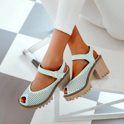 Peep Toe Platform Buckle Daily Chunky Sandals_11